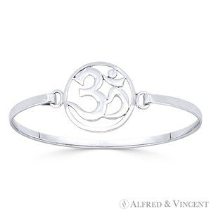Om Symbol Hindu/Buddhist Bangle Solid.925 Sterling